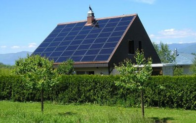 Solar panels on roof - House with solar panels
